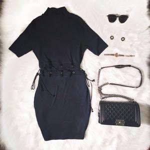 Zara Trafaluc Black Lace Up Bodycon Midi Dress L